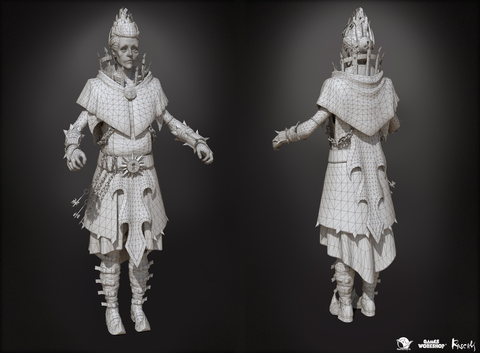 Vermintide II's character variants average at 50K poly and  use 4K PBR textures.