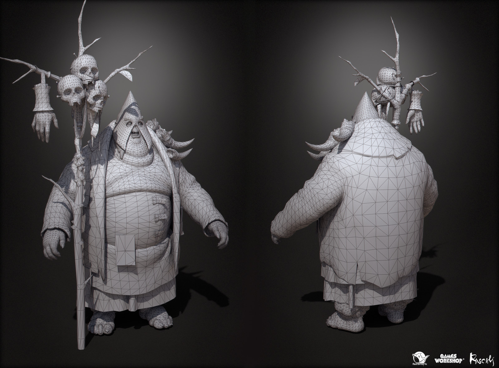 The sorcerer is made of 37K polys and 4K textures.