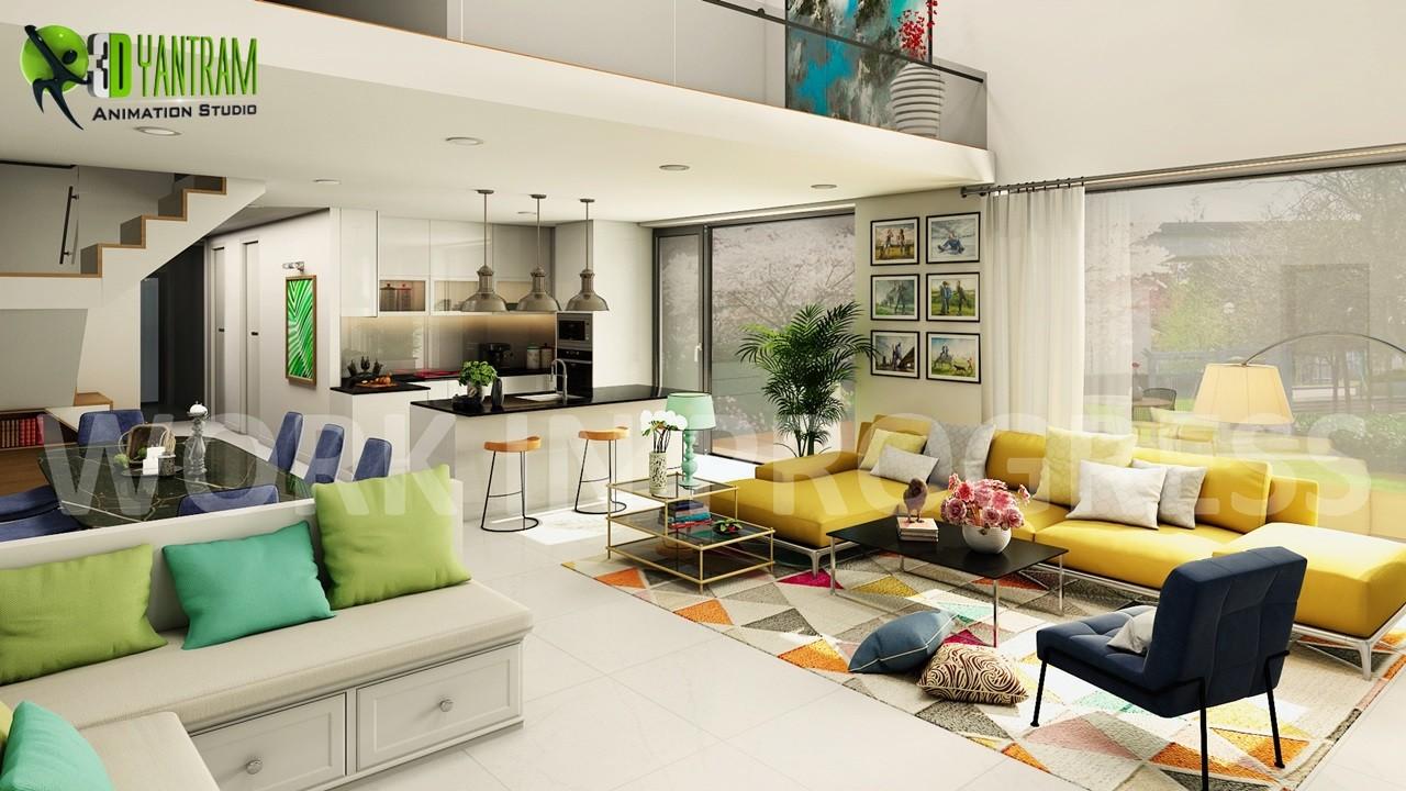 ArtStation - Interior Open Kitchen Living Room Design for ...