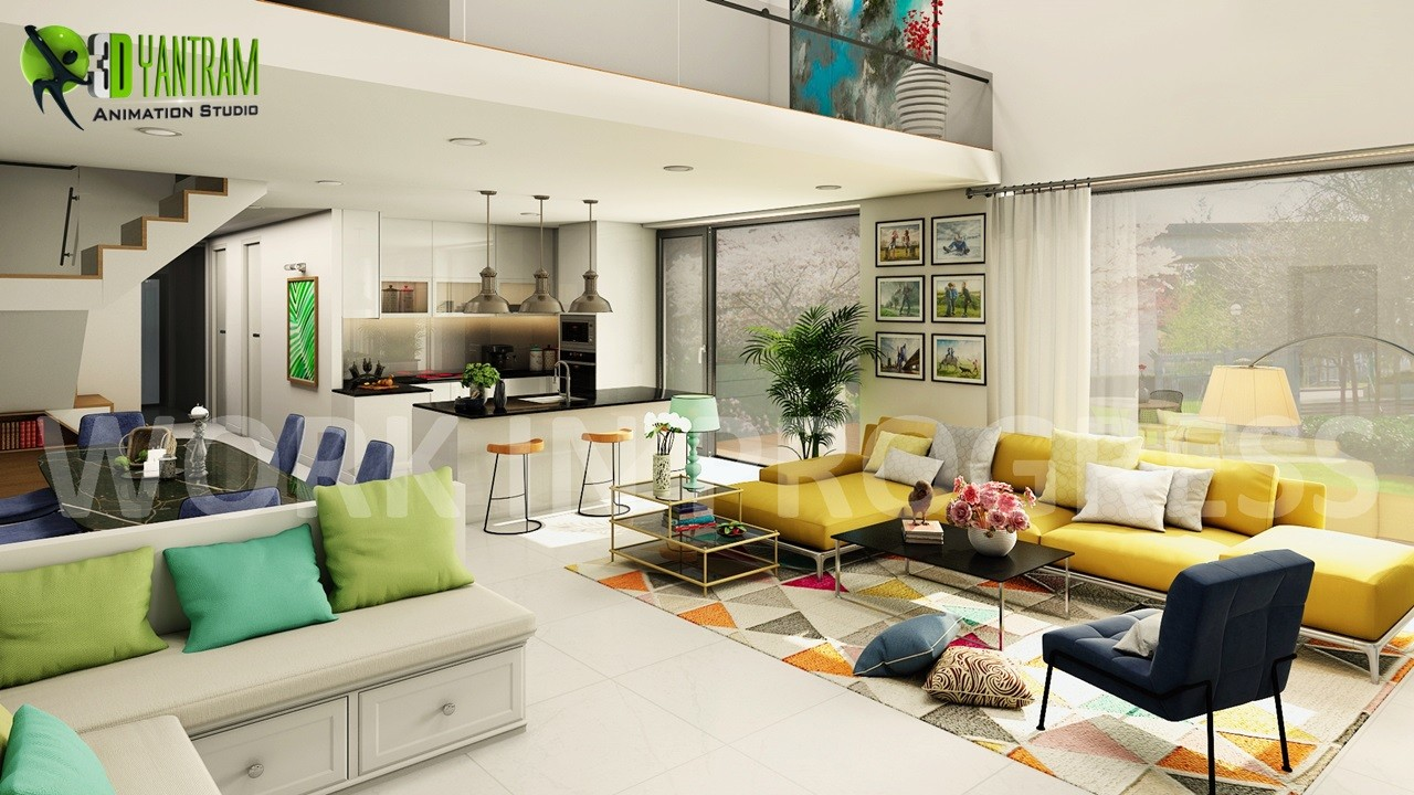 Artstation Interior Open Kitchen Living Room Design For Home By Architectural And Services Qatar Doha Yantram Studio