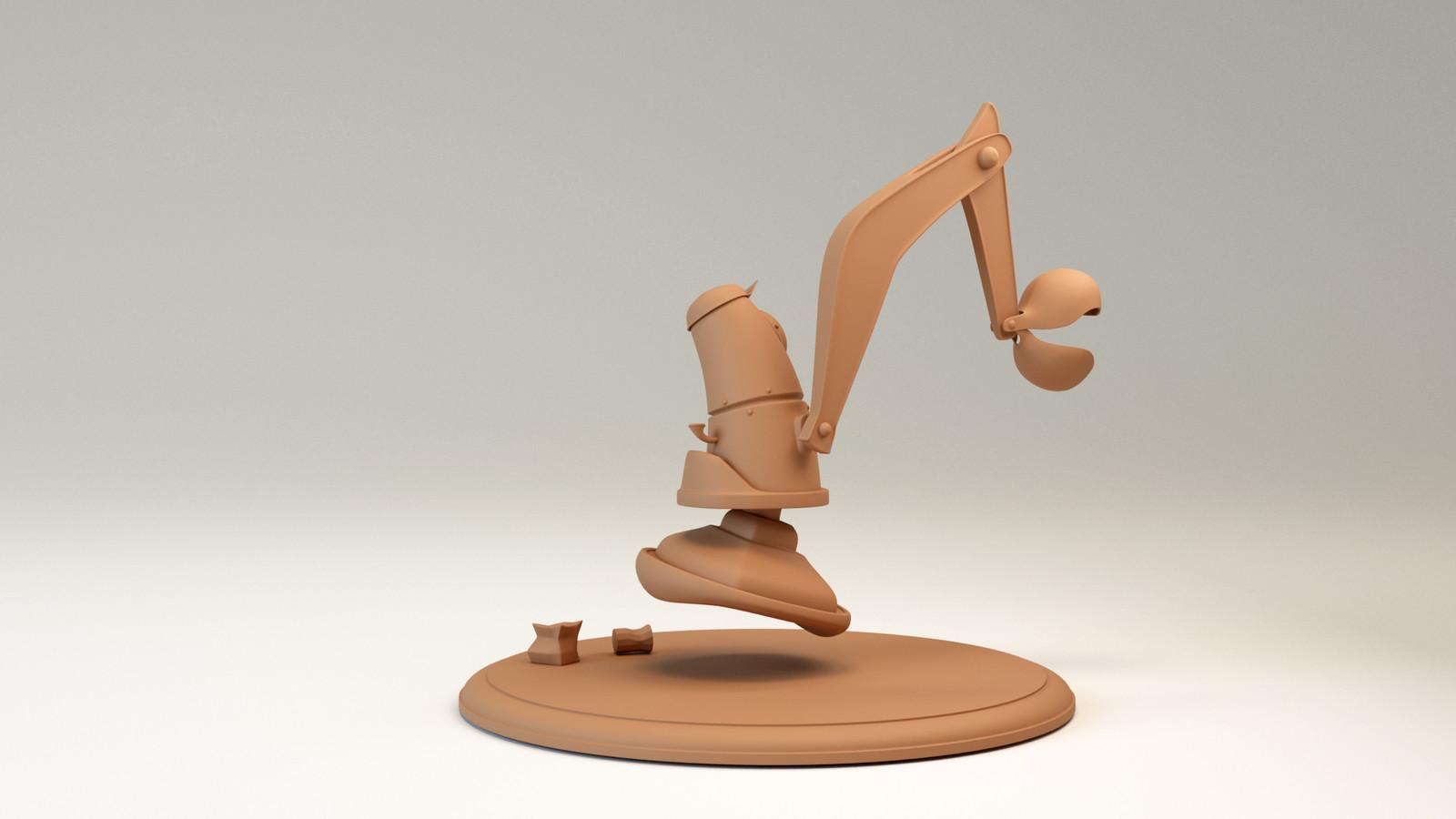 Rupert the Cleaner, sculpey render, back