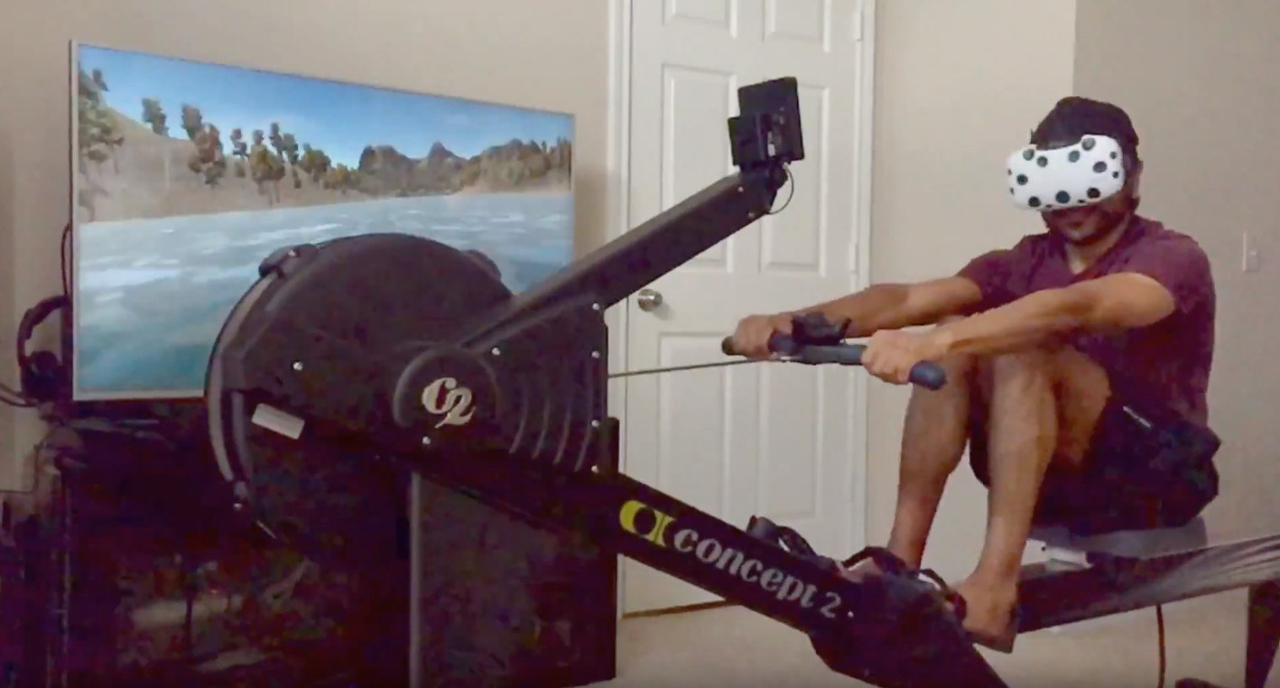 This image showcases my use of the Virtual Rower VR app together with the indoor rower.