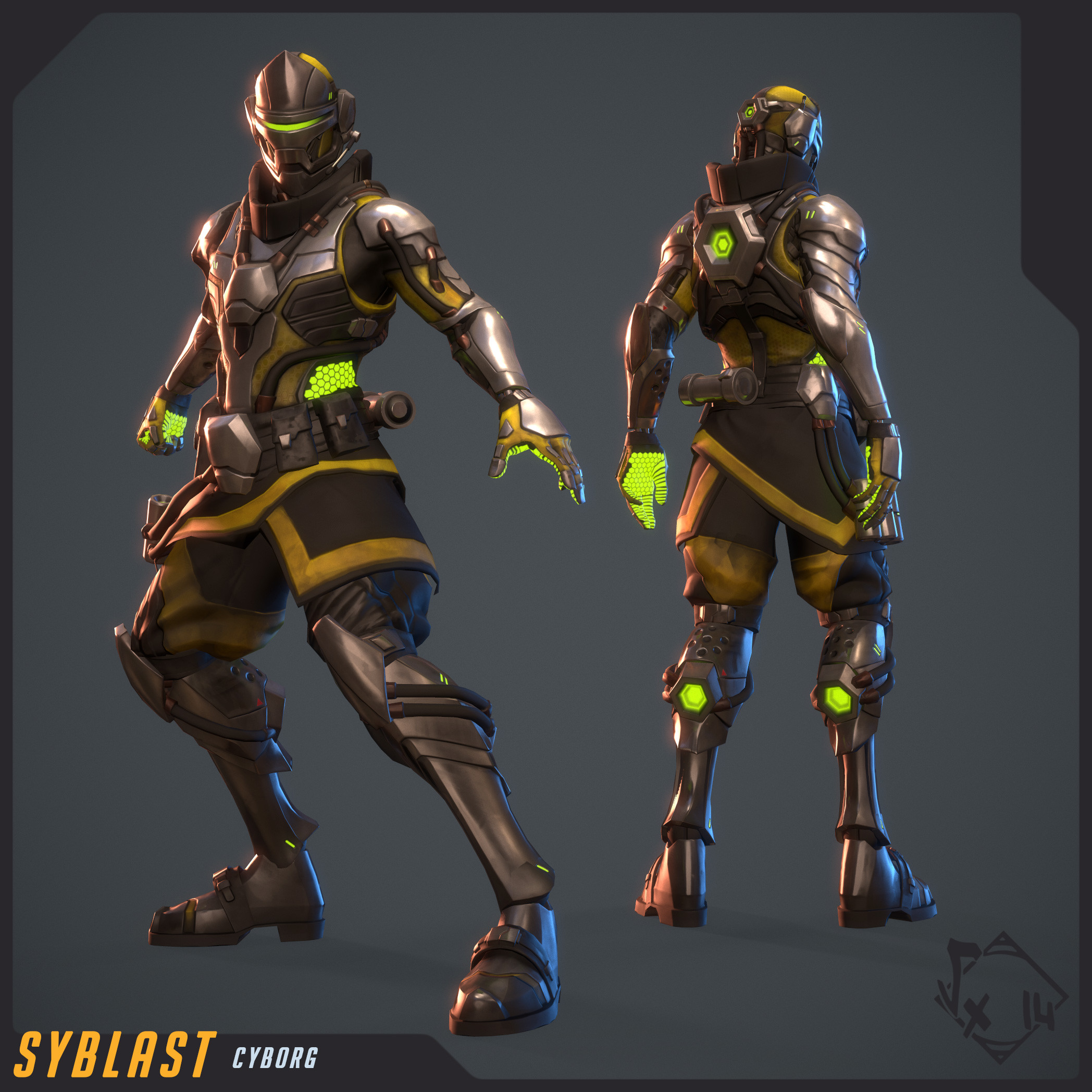 Cyborg's Skin - fully textured with 3D-Coat and rigged/skinned on Akeytsu