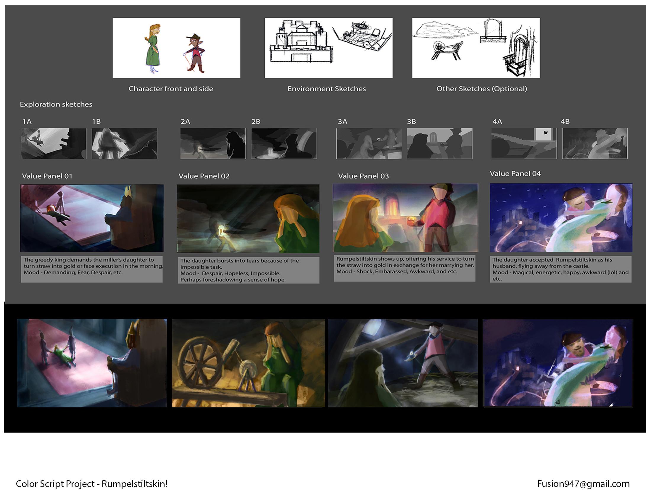 Color Script Project for Story of Rumpelstiltskin