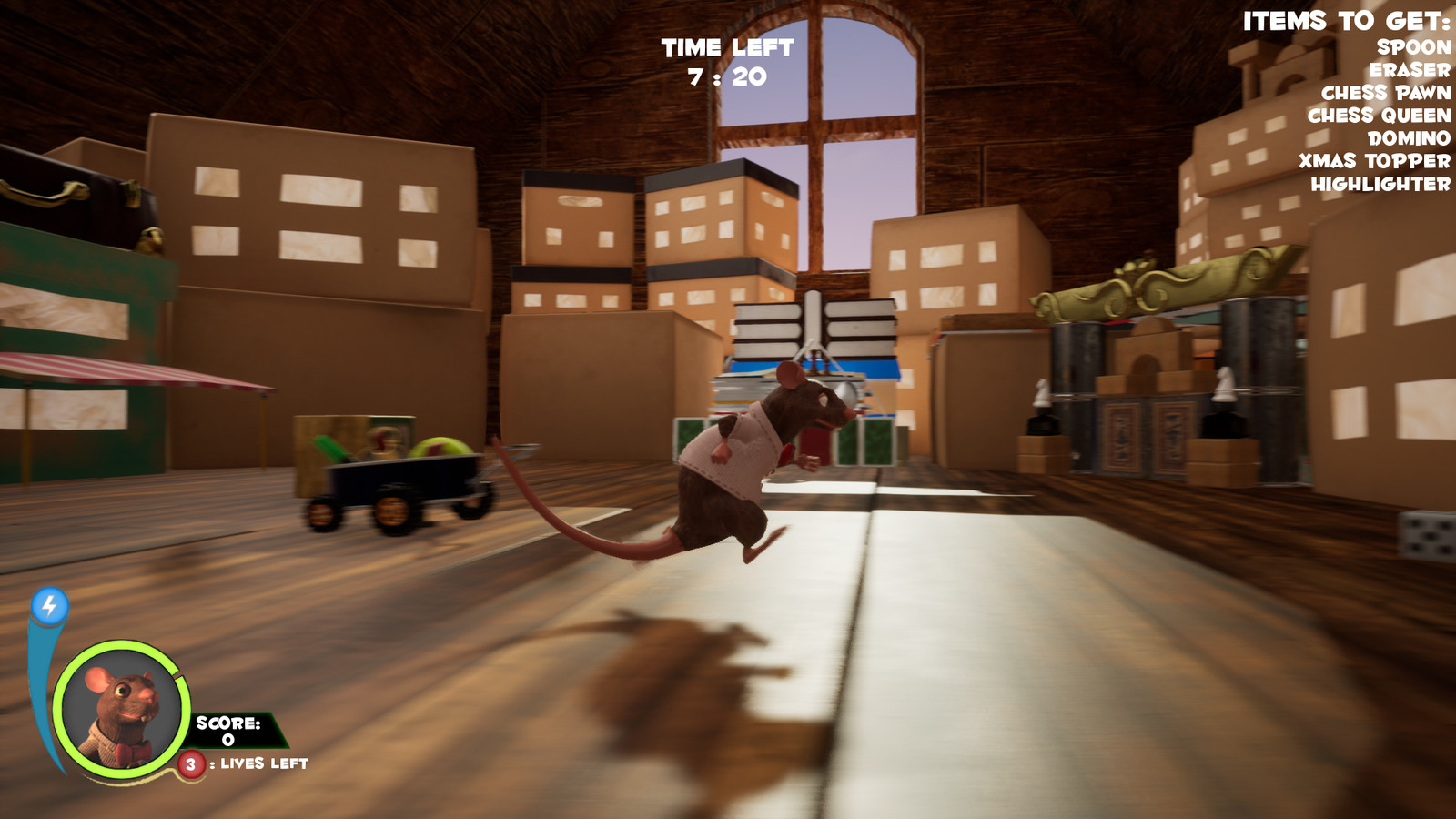In game screenshot - The attic walls, floor and lighting were done by another team member, Lyon Chan. He was also primarily responsible for all technical work, including blueprinting, etc.