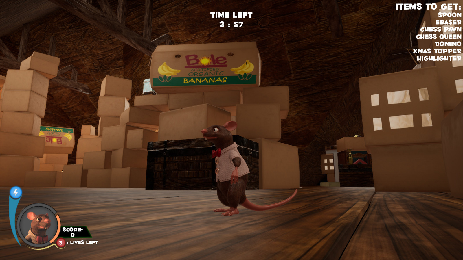 "In game screenshot - aside from the ""town center"" area, another team member, Mathew Kishan, was responsible for laying out the majority of the Attic environment, and well as game play and player mechanics."