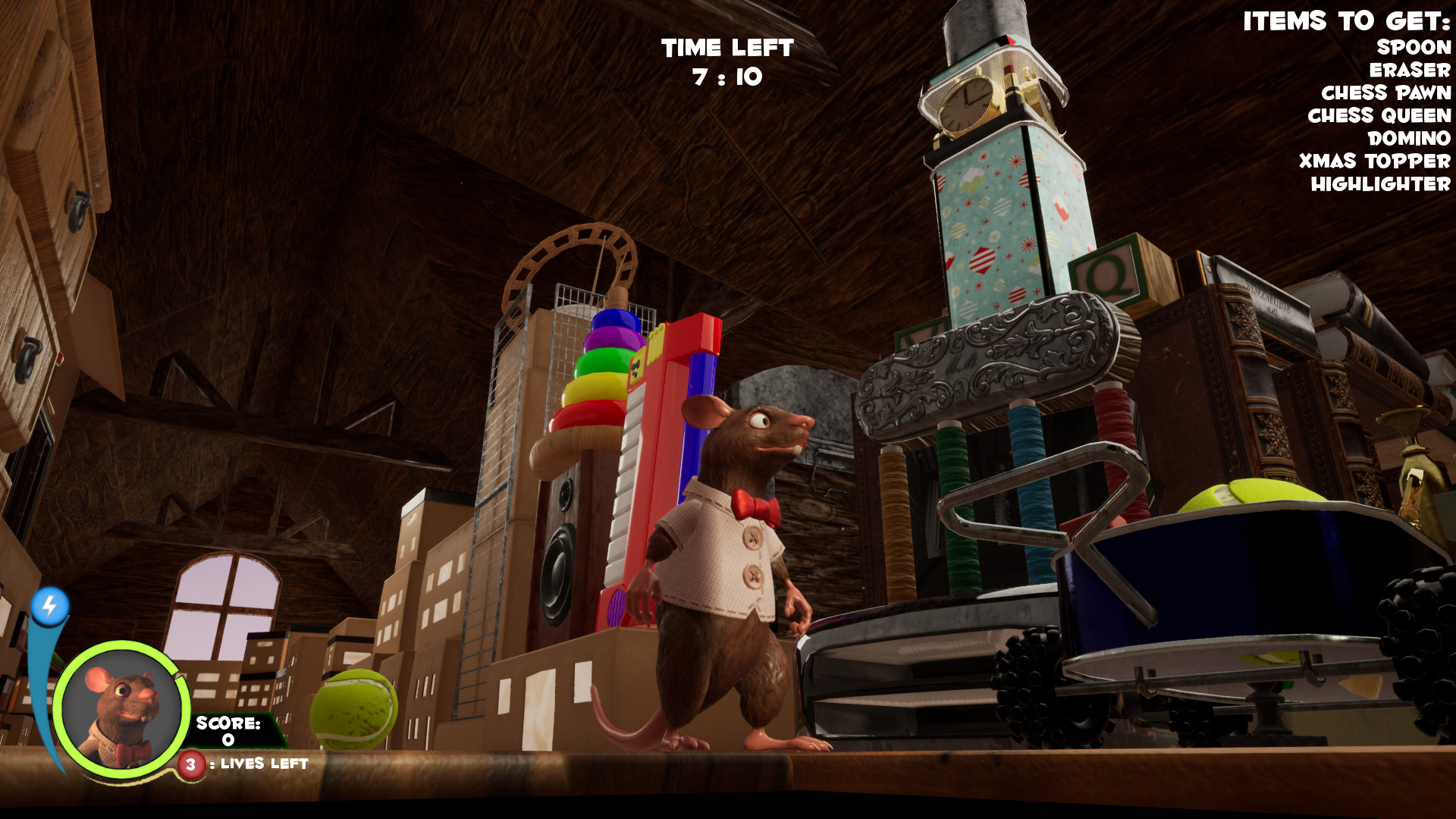 In game screenshot - The rat character, Drew, was modelled, textured, rigged and animated by me.