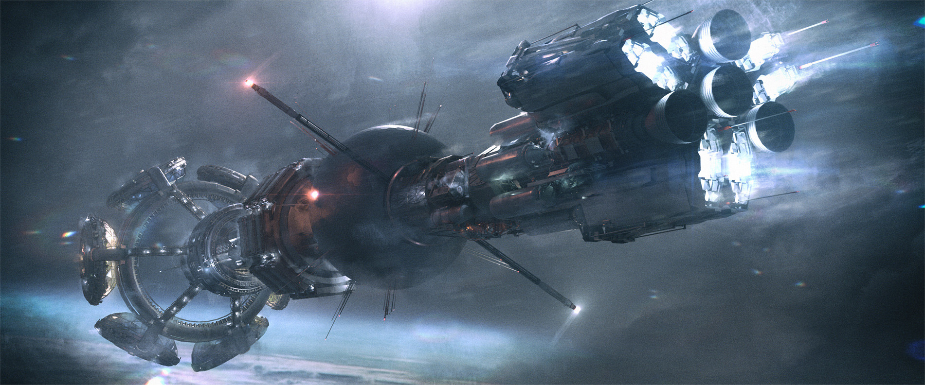 Initially the ship had a dark brooding look, eventually moved to a more white/satellite feel.