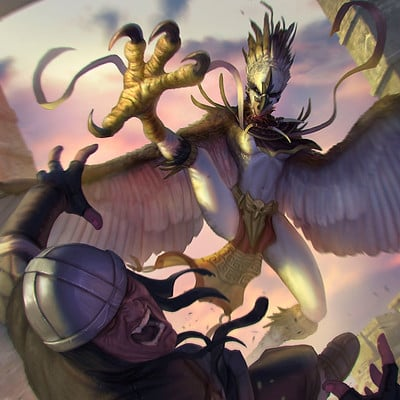 Rafael teruel raging harpy by rafater creatuanary magic the gathering