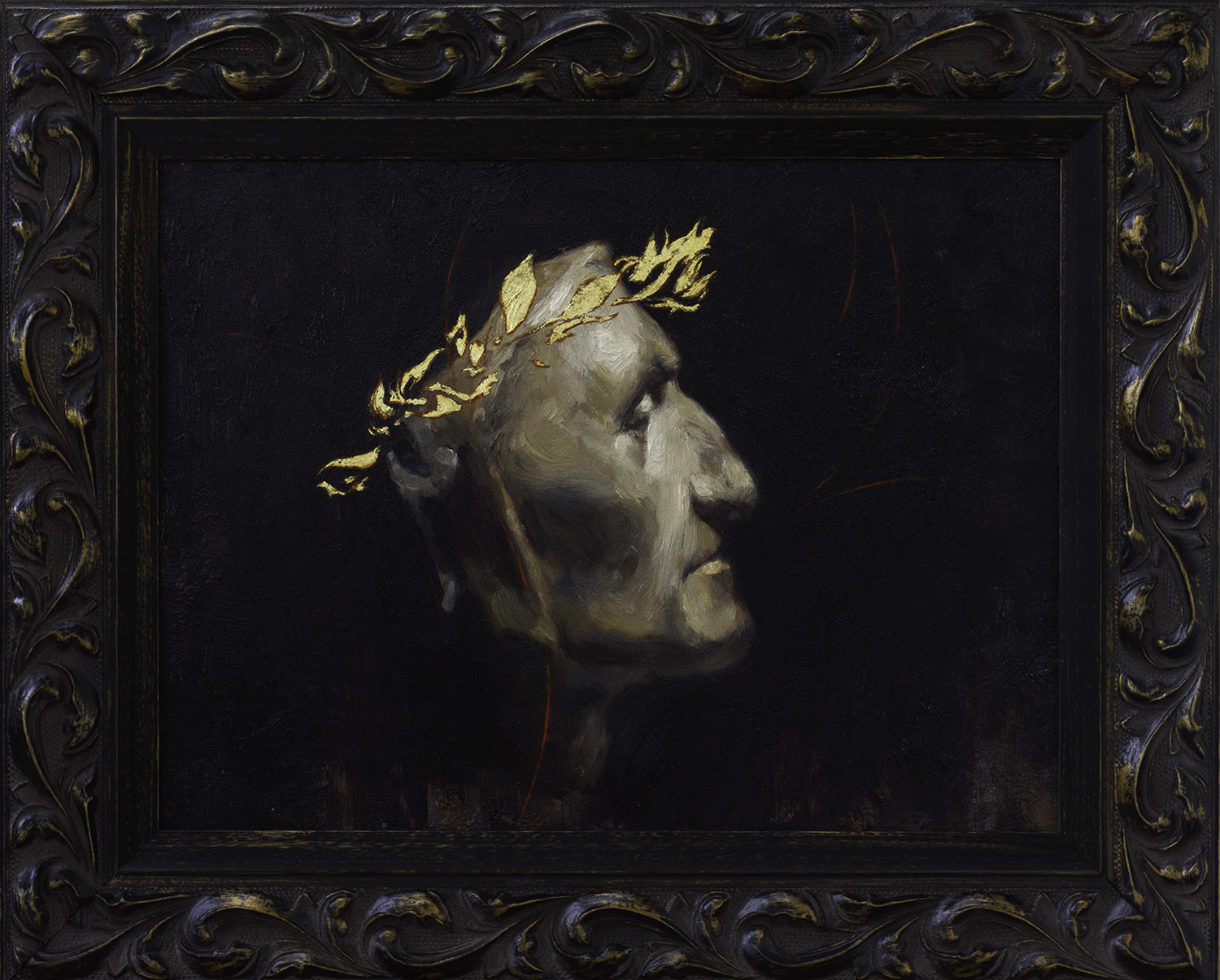 il Sommo Poeta Oil and 23 Kt Gold on panel