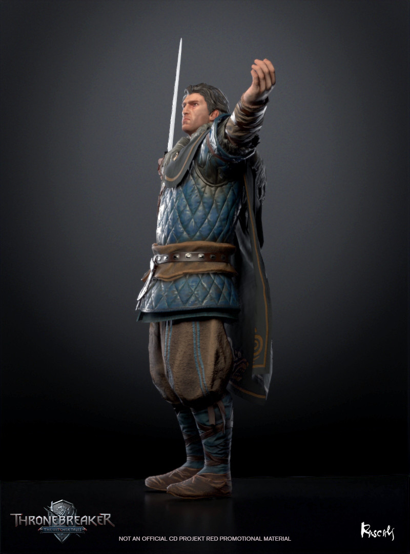Eist appears in Thronebreaker as an avatar in a battle. He actually occupies little screen space and thus his budget is only about 8K polygons. We compensate for this fact with PBR materials and carefully distributed shapes. How do you like him?
