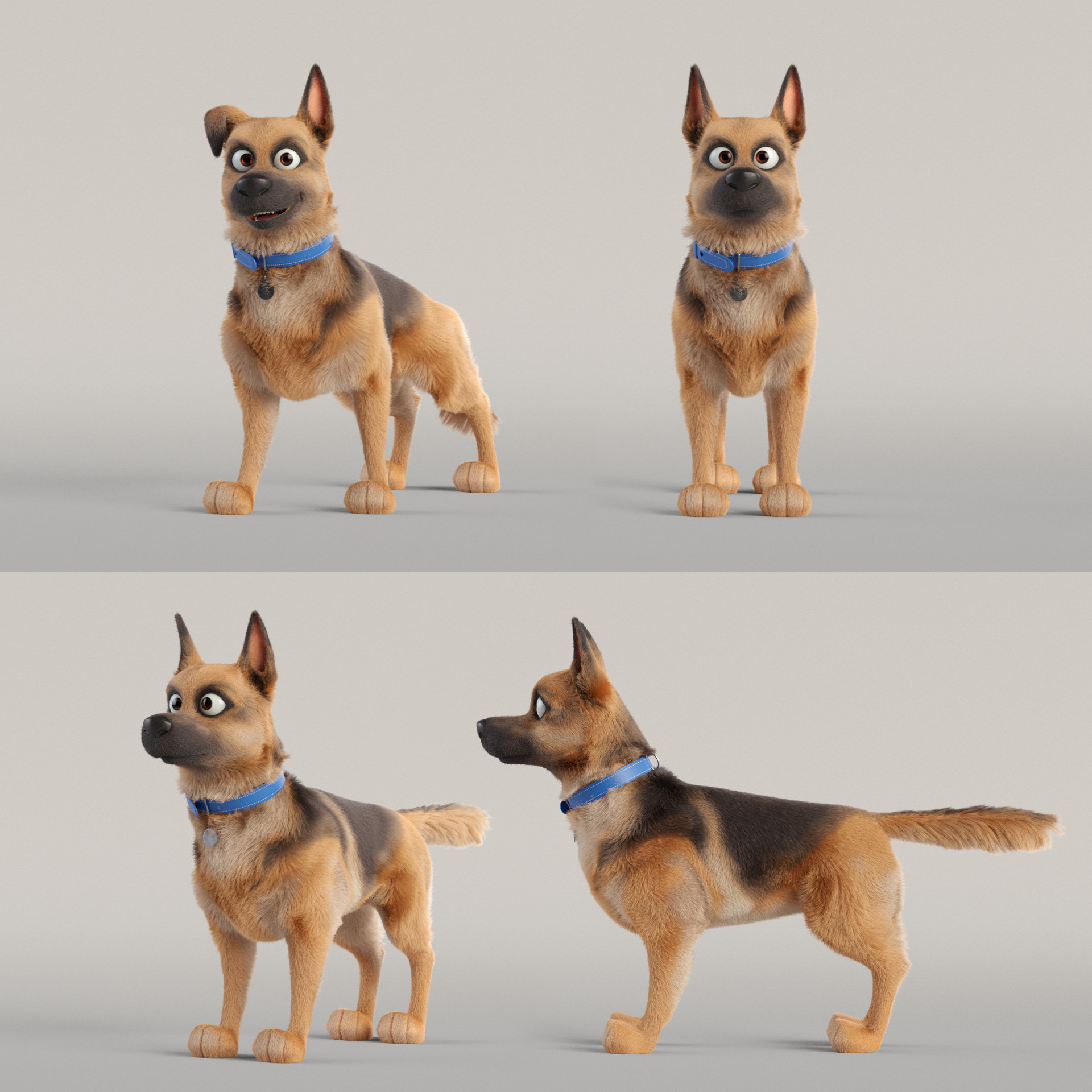 Groom and character test renders