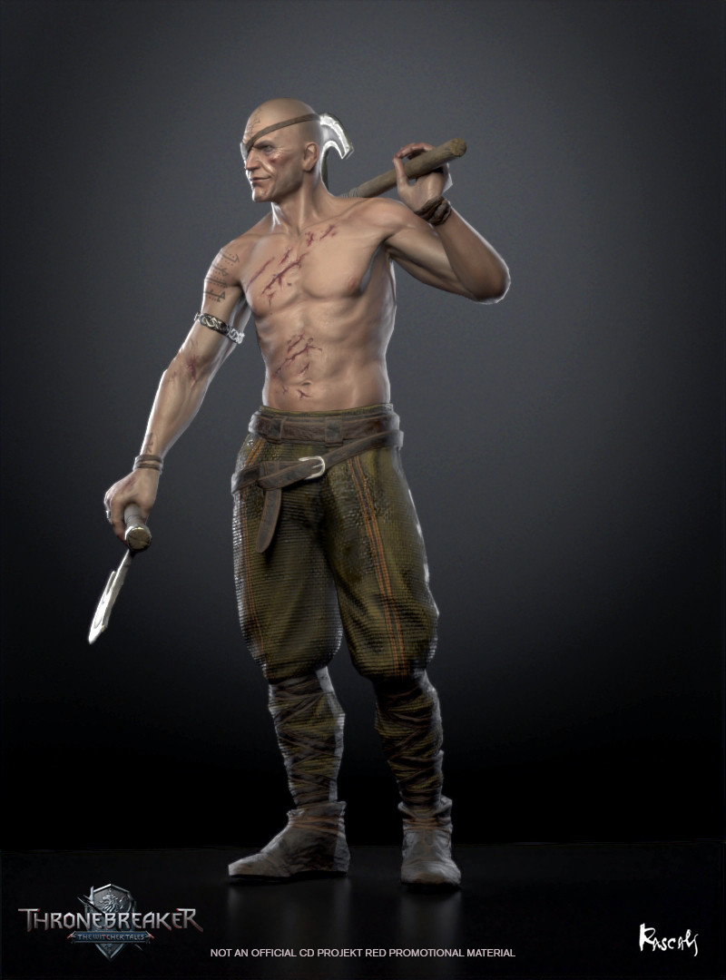 Arnjolf appears in the game as an avatar in a battle. He actually occupies little screen space and thus his budget is only about 8K polygons. We compensate for this fact with PBR materials and carefully distributed shapes. How do you like him?