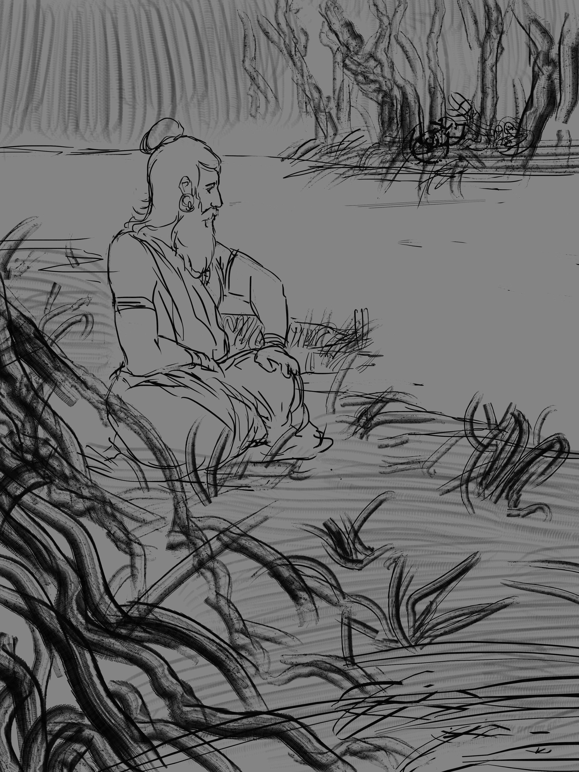 Sketch 2 - The picked this one and requested to add the animals as an afterthought