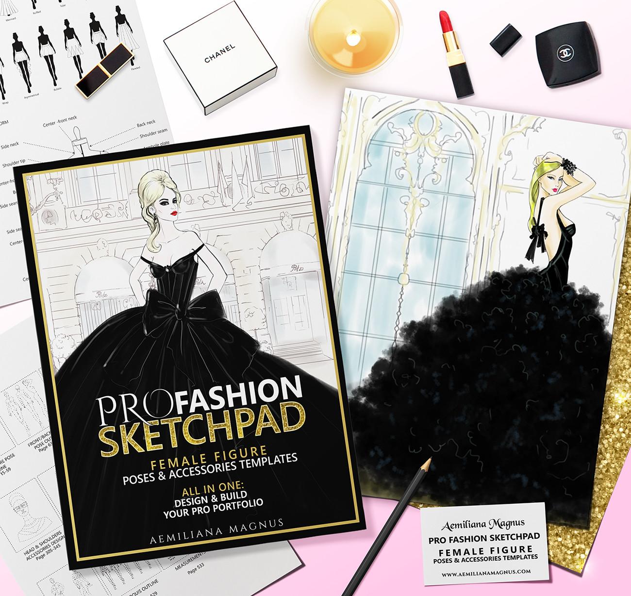 Pro Fashion Sketchpad Designer Sketchbook 600 Templates