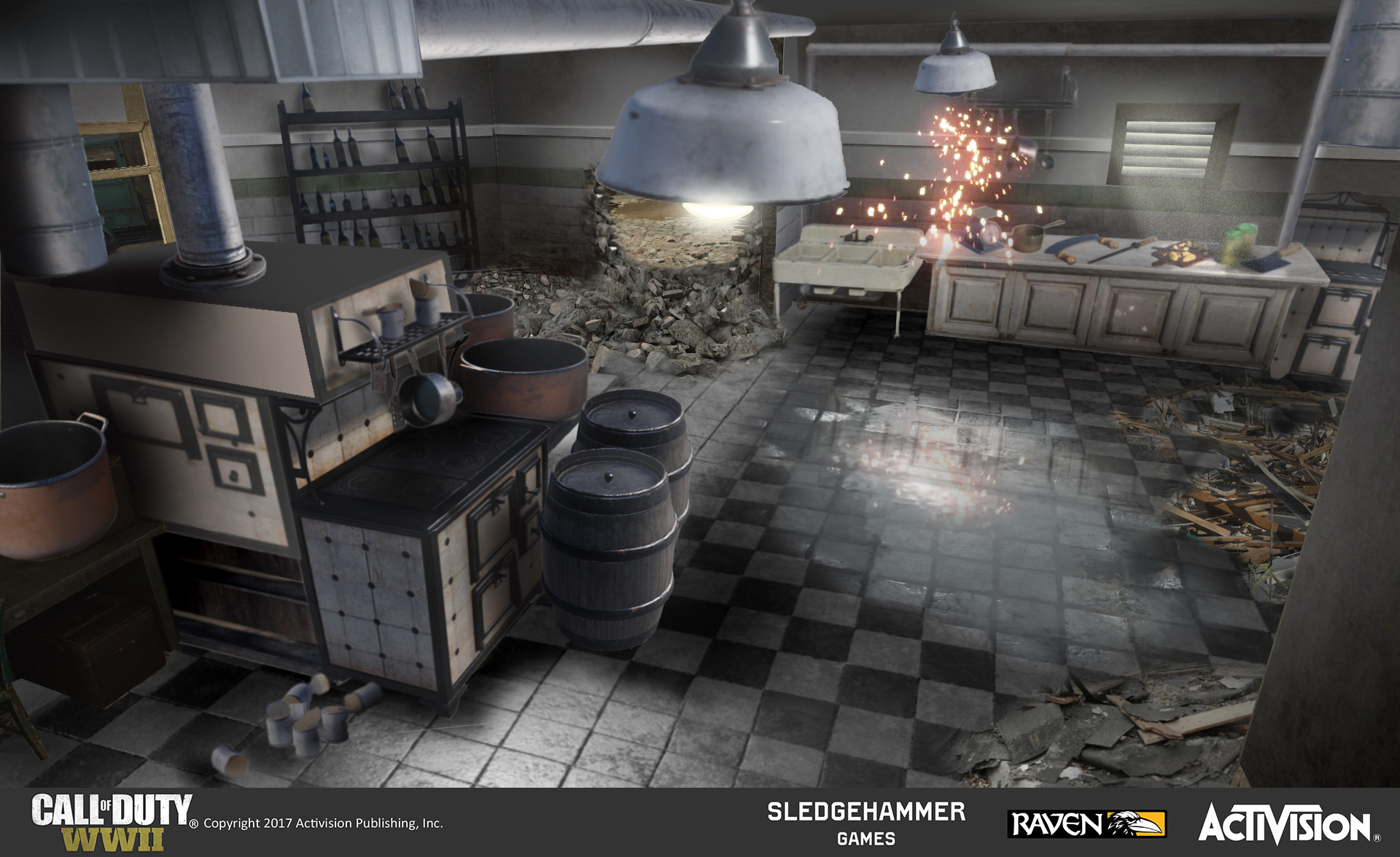 Concept image of a destroyed restaurant kitchen which encloses one of the Objective 2 hostage rescue areas. I created this image by painting over a base image using a combination of photobashing, digital painting, and images of in-game content.