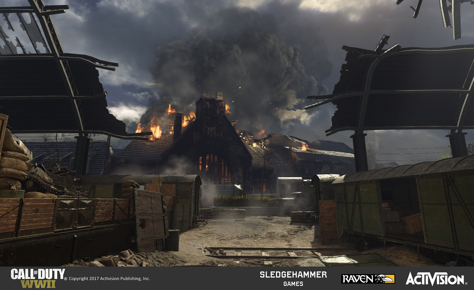 Player path leading to the third objective in this map, which has the main train station as a backdrop. This serves as an establishing shot for the train station building, created with a combination of uniquely created and pre-existing models/materials.