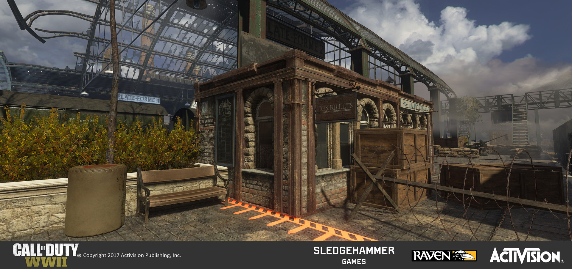 This is a ticket booth structure I created for use in several places in the Train Station. I created the geo using pre-existing materials arranged in a unique treatment and I added the stoned arch windows I made to stylistically match the train station.
