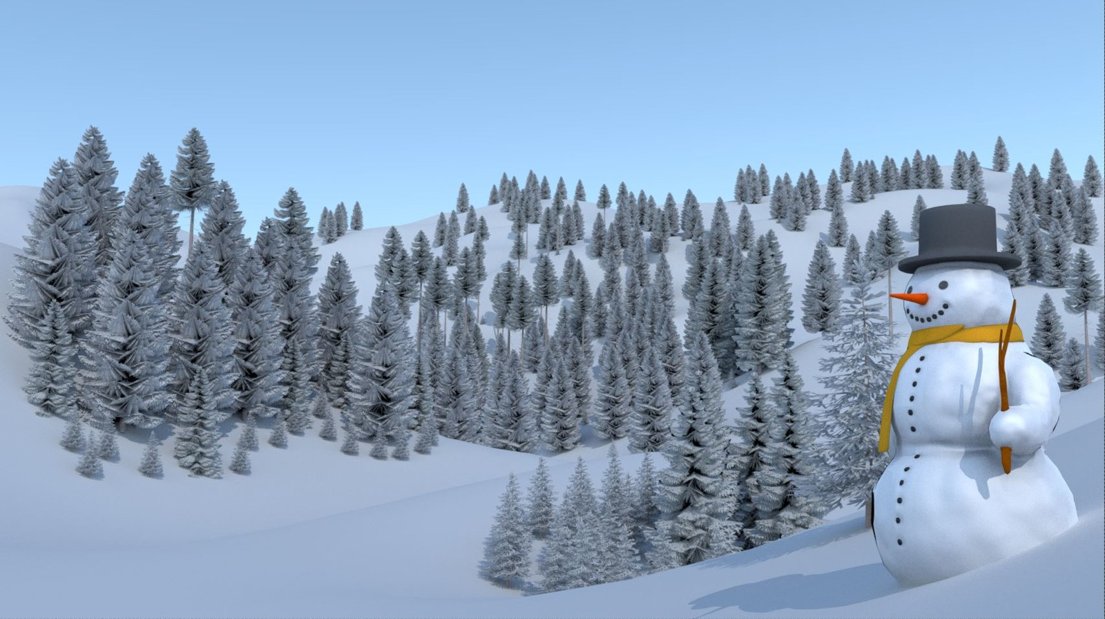 Test-Render 1 with high-poly trees.