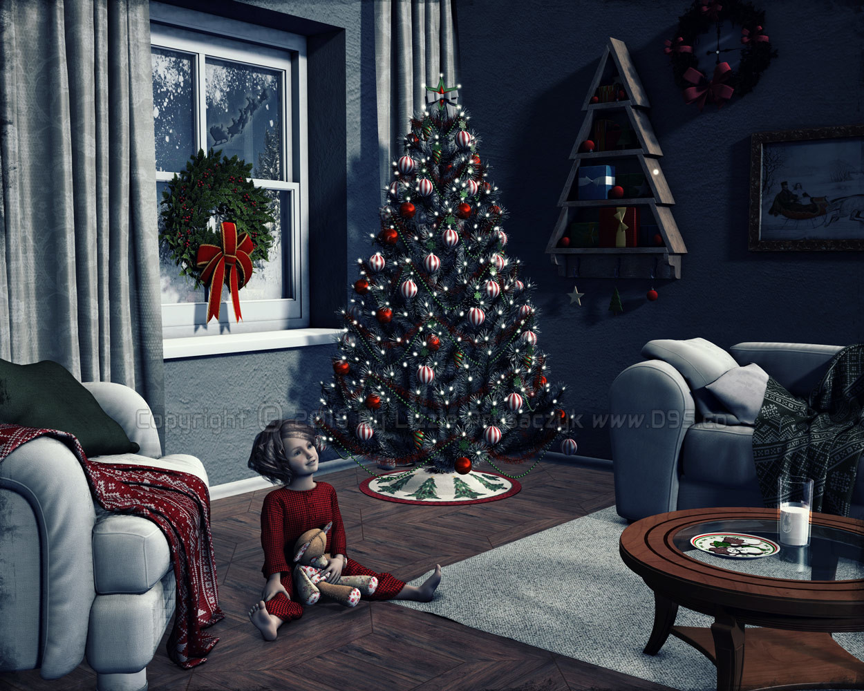 A young child waits for Santa to arrive with gifts for all.