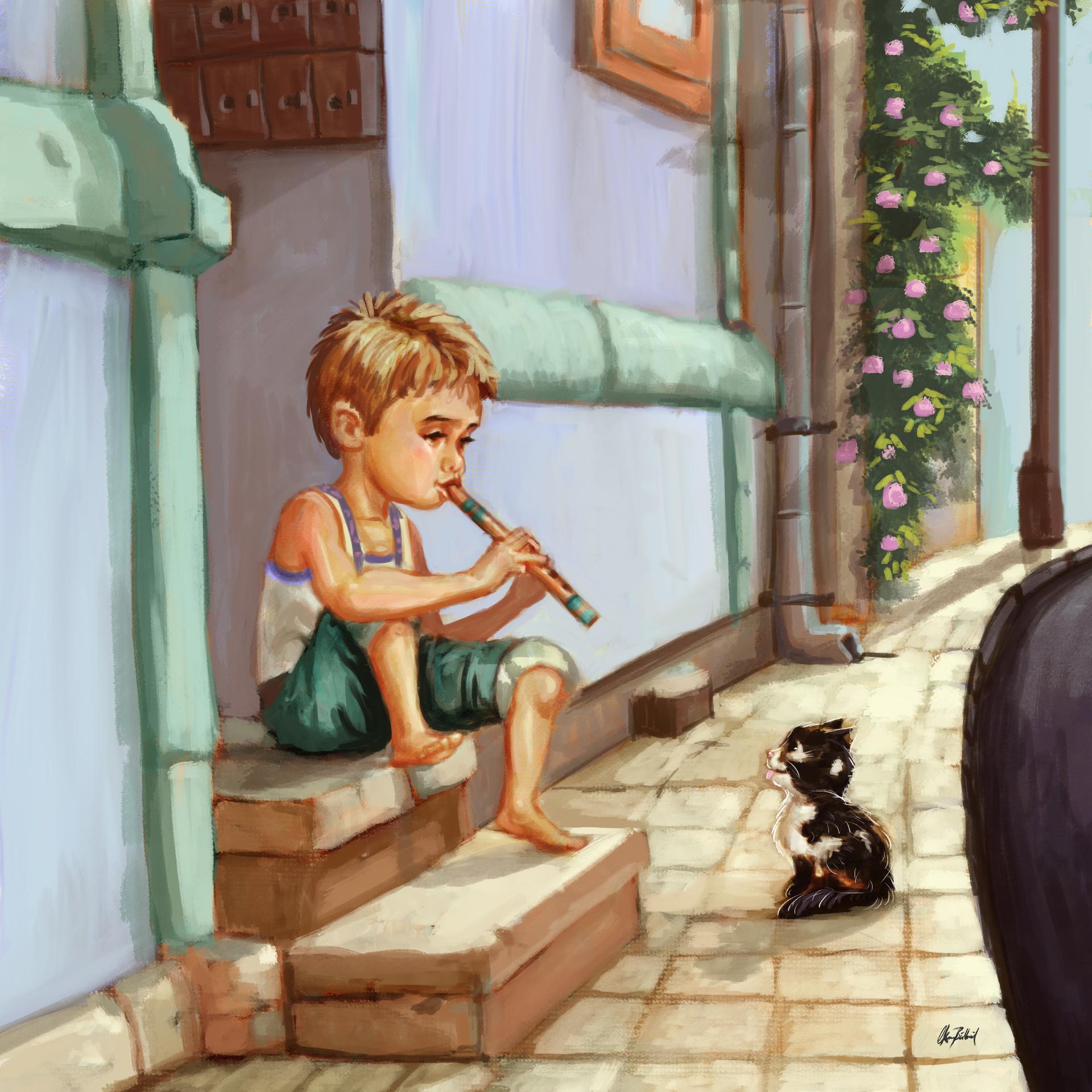 Okan bulbul kid playing flute03