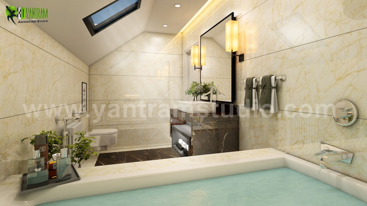 Fancy Modern Bathroom 3D Interior Design By Yantram Interior Concept  Drawings, Florida   USA