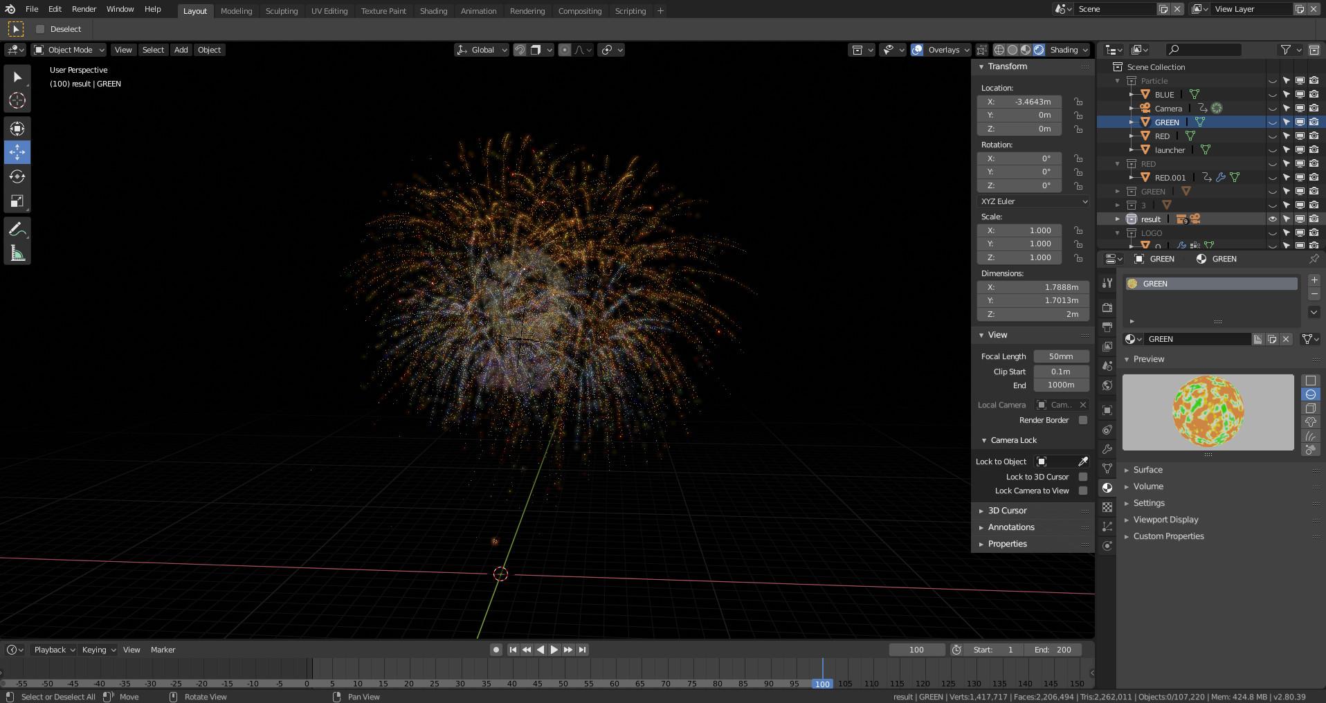 ArtStation - FREE Download scene animation Firework (blender 2 8