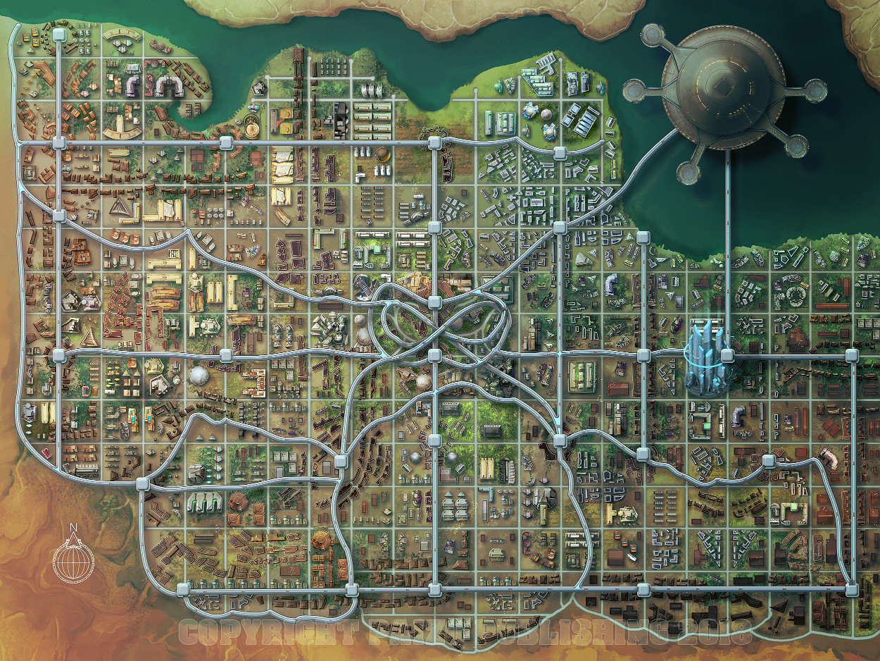 Cuvacara city map, for Starfinder City of Screams AP