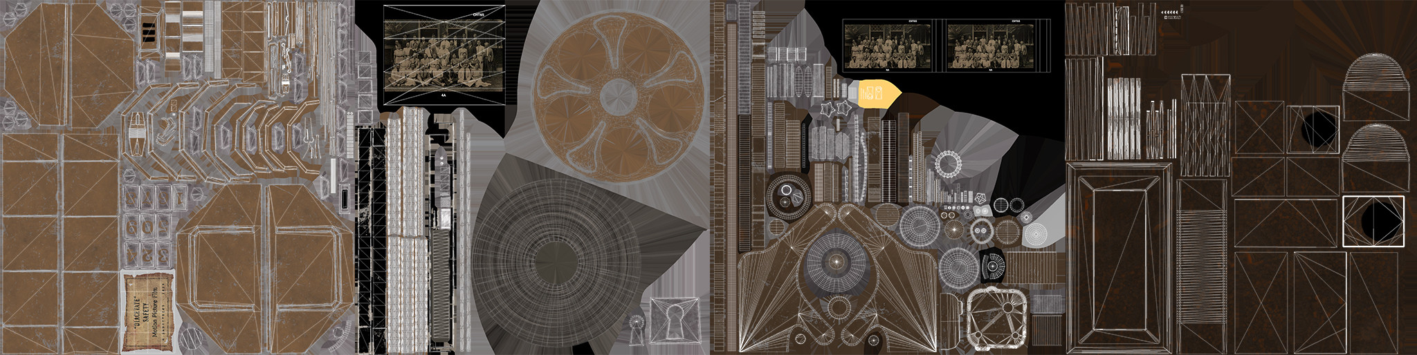 """UV Layout. Film Canister shares the UVs with my other project, """"Film Projector""""."""