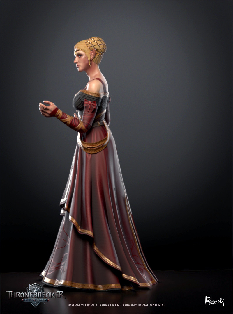 Francesca appears in Thronebreaker as an avatar in a battle. He actually occupies little screen space and thus his budget is only about 8K polygons. We compensate for this fact with PBR materials and carefully distributed shapes. How do you like her?