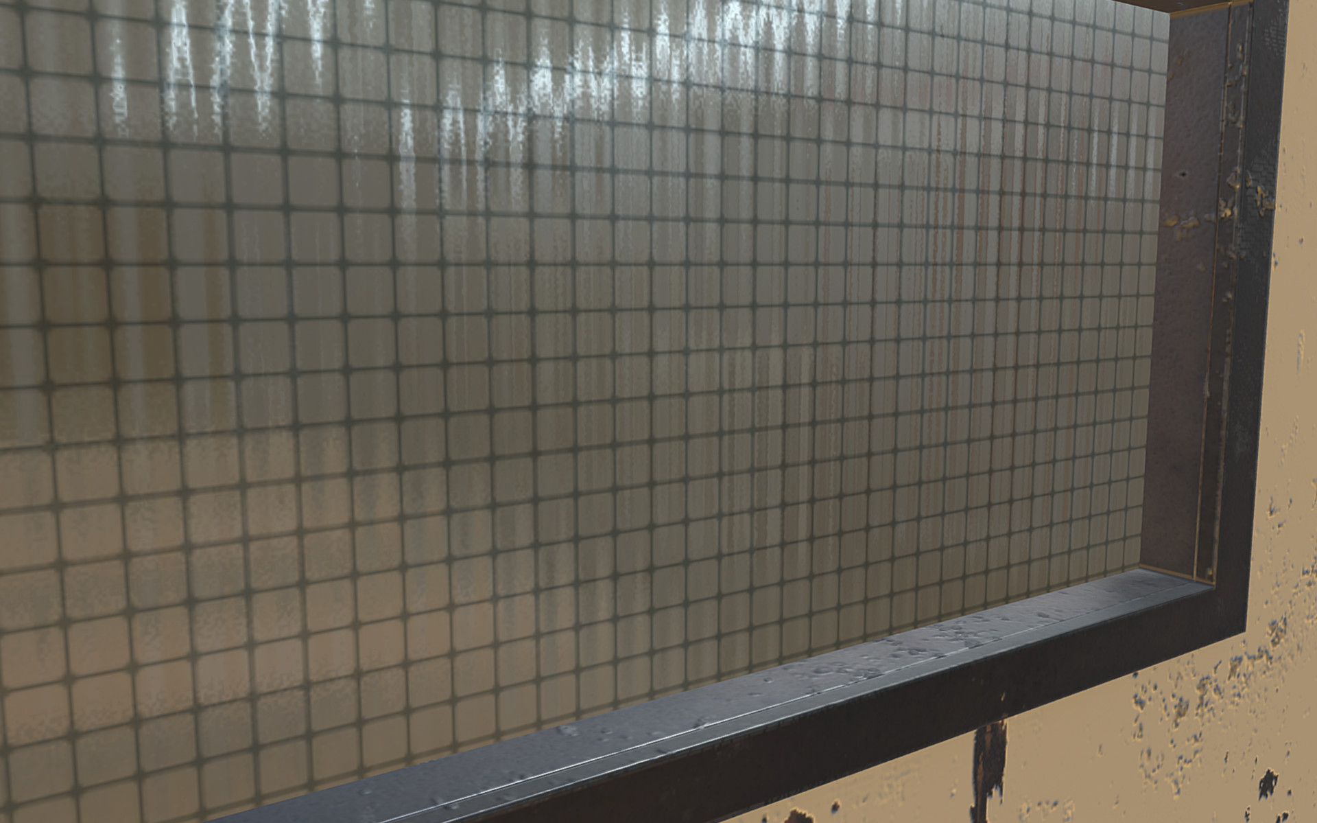 Jail Cell Asset Pack- reinforced glass material detail