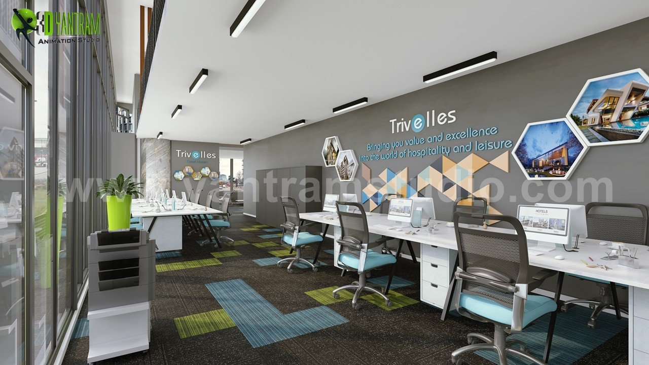 Innovative 3D Office Interior Design By Yantram Interior Concept Drawings,  Dubai   UAE