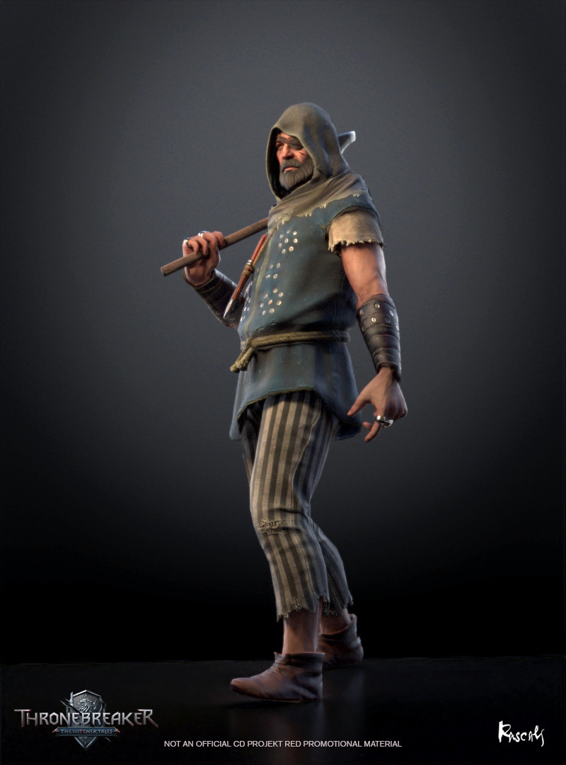 Skellige Pirate appears in Thronebreaker as an avatar in a battle. He actually occupies little screen space and thus his budget is only about 8K polygons. We compensate for this fact with PBR materials and carefully distributed shapes.How do you like him?