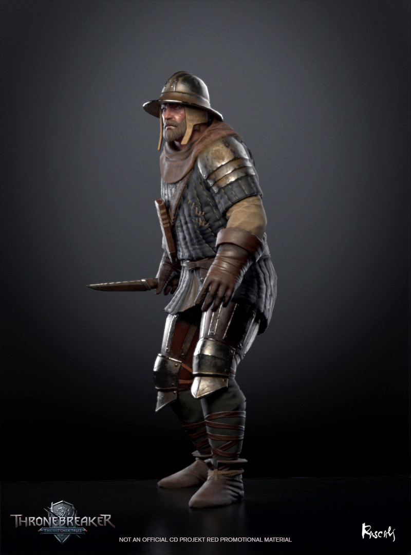 Bandit appears in Thronebreaker as an avatar in a battle. He actually occupies little screen space and thus his budget is only about 8K polygons. We compensate for this fact with PBR materials and carefully distributed shapes.How do you like him?
