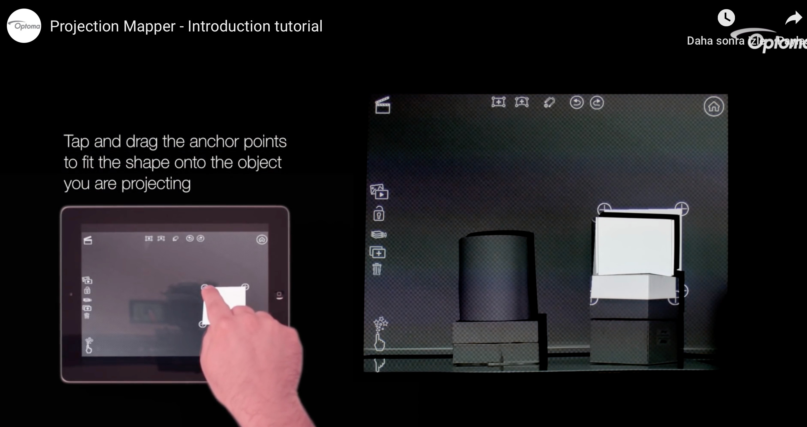 screenshot from a tutorial, prepared by Optoma Projector Brand