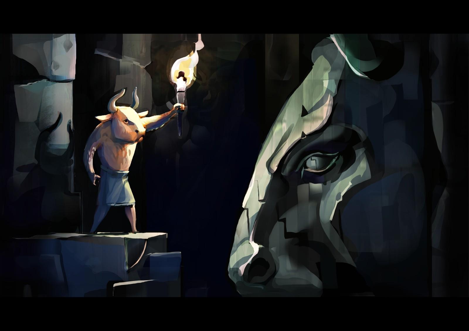 Adventurous Minotaur 1 discovers a huge Minotaur sculpt.