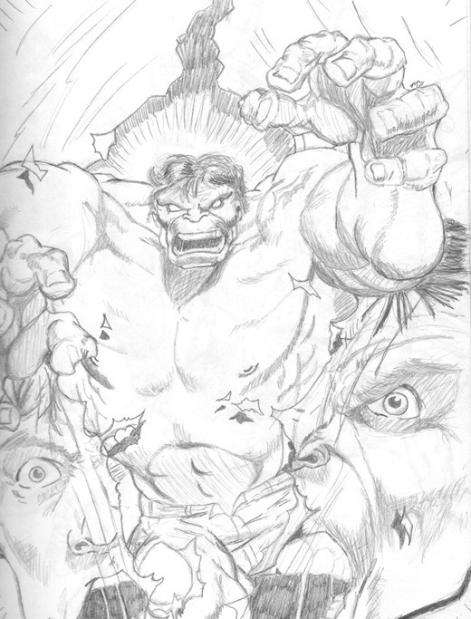 Example of 2D pencil sketch. Homage to the work of Dale Keown.