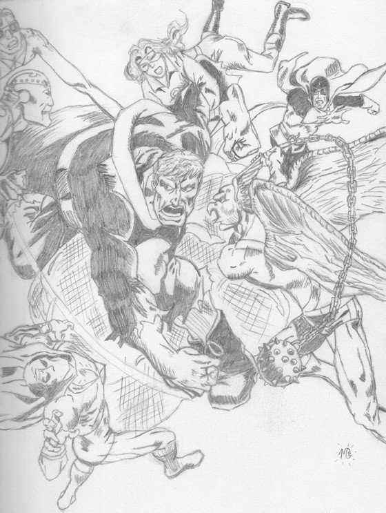 Example of 2D pencil sketch. Homage to the Justice Society/All-Star Squadron.