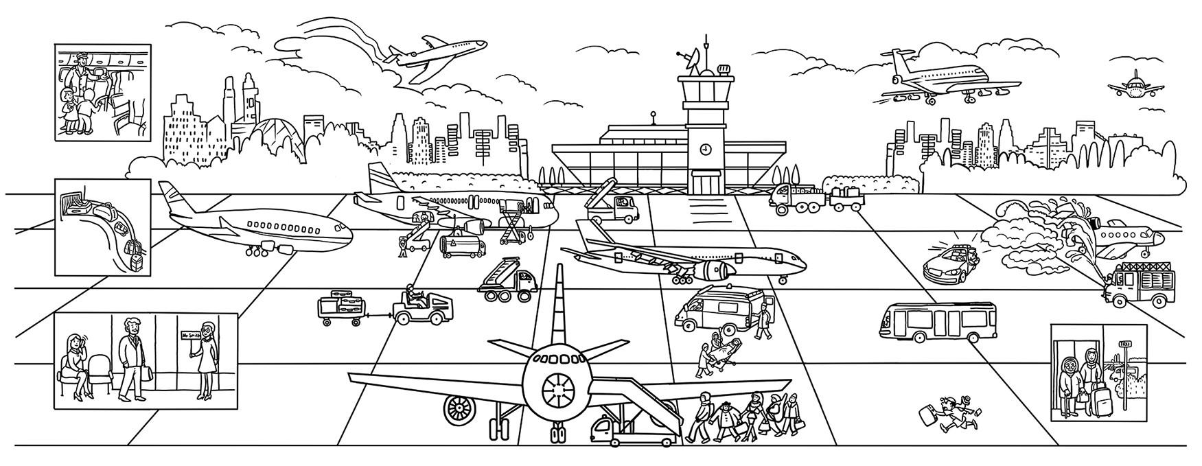 Раскраска аэропорт распечатать