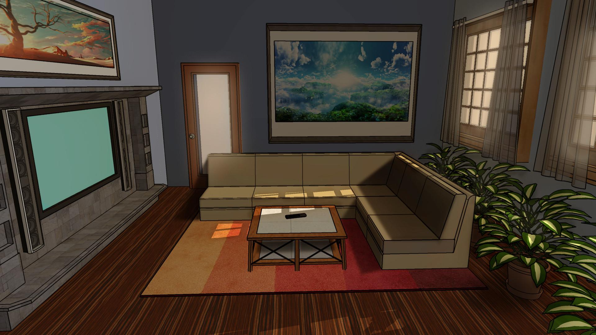 ArtStation   Living Room Background, CreamyCake Production