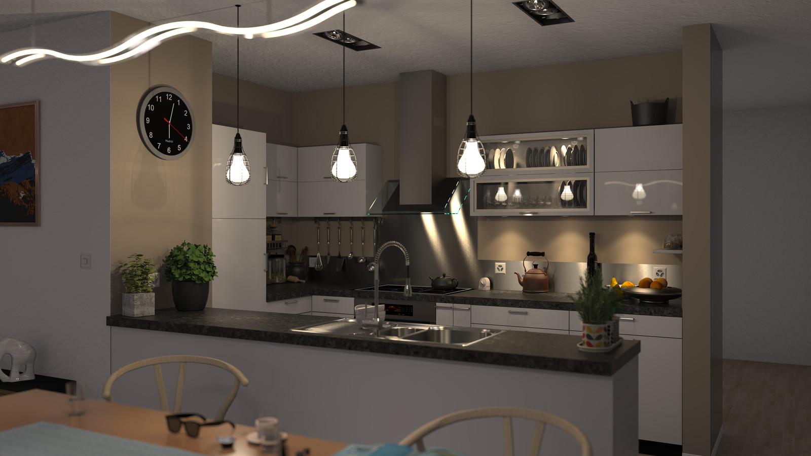 SketchUp + Thea Render Apartment model 03 v2019-Scene 35 NIght V2 HD3000 x 5333 PrestoAO 1024 spx 56m49s
