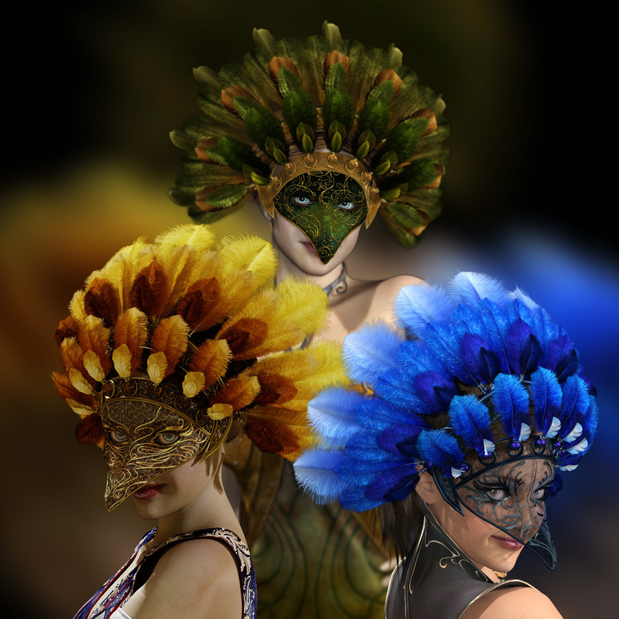 This was the main image showcasing all three render engines.  The green mask was rendered in Poser's Firefly render engine.  The Golden mask was rendered with Iray in DAZ Studio.  And, the blue mask was rendered with Superfly inside of Poser.