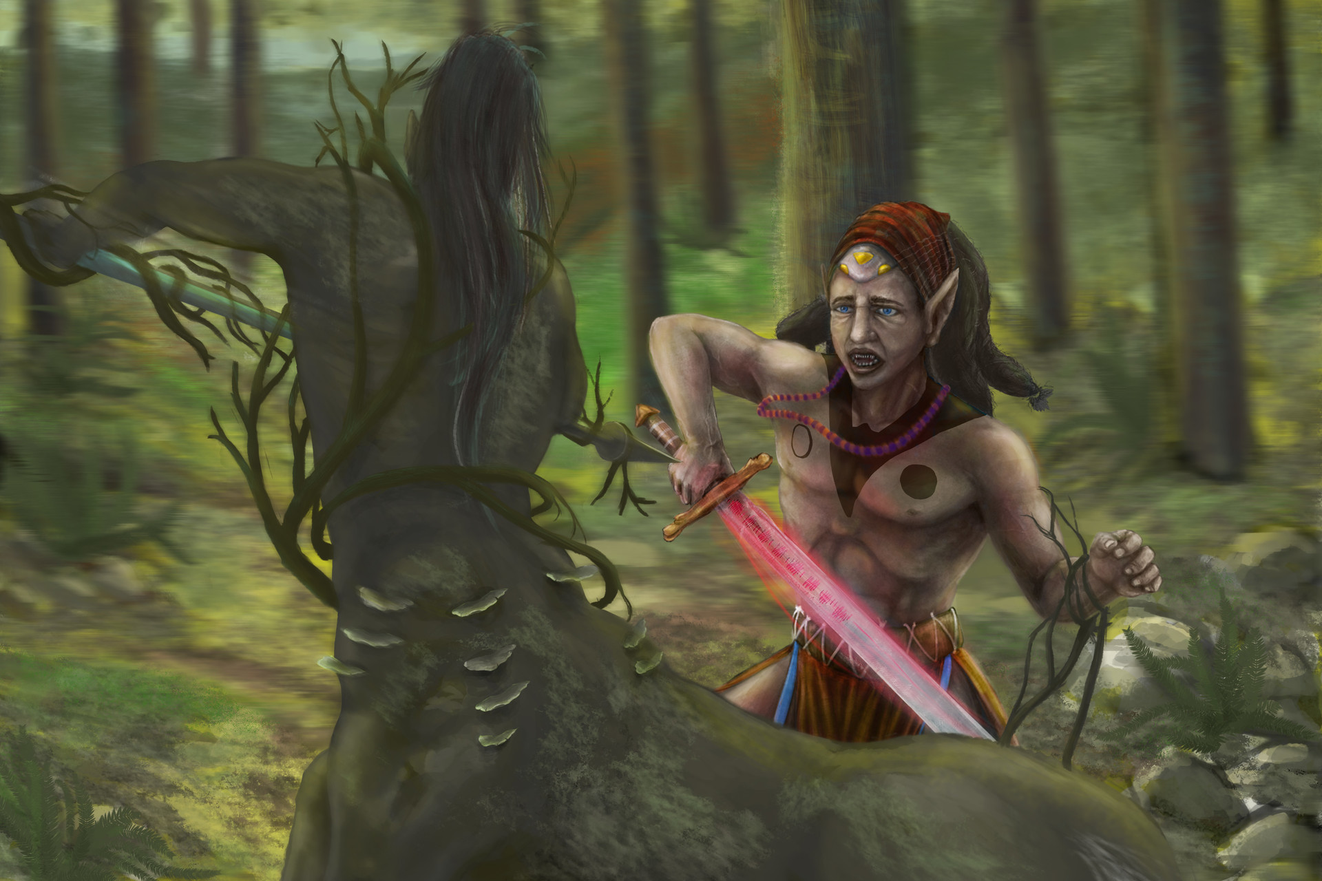Italo gaspar luta de elfo cavalo com tattoo