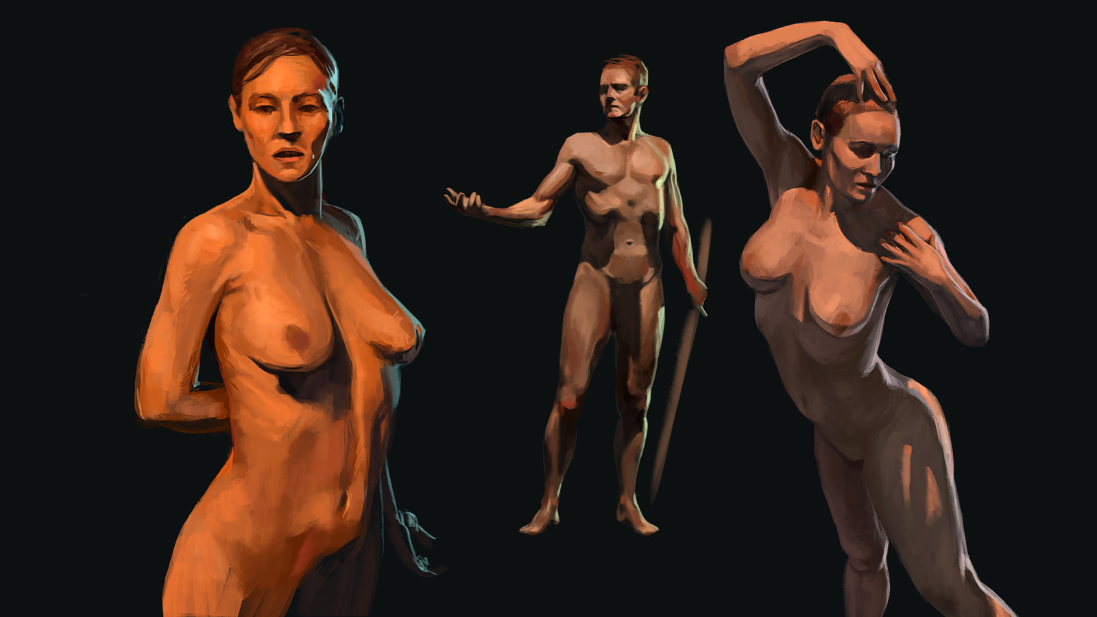 Experimenting with lights and different poses using the models from Anatomy 360 as reference