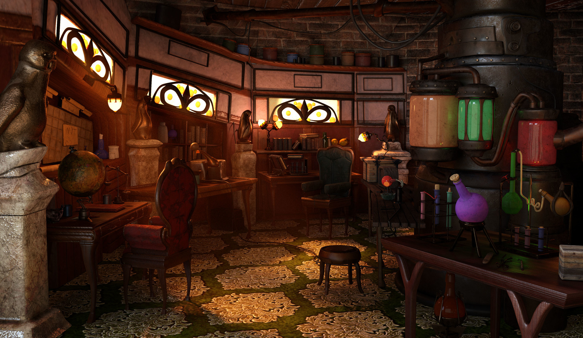 ArtStation - Victorian Chemistry created in Maya, Michael