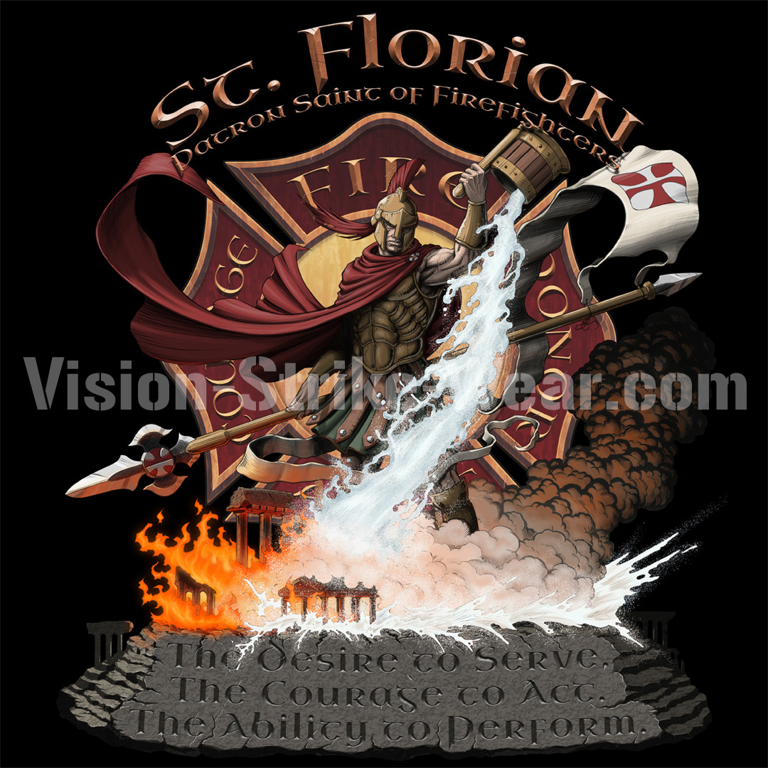 St Florian t-shirt and statuette design