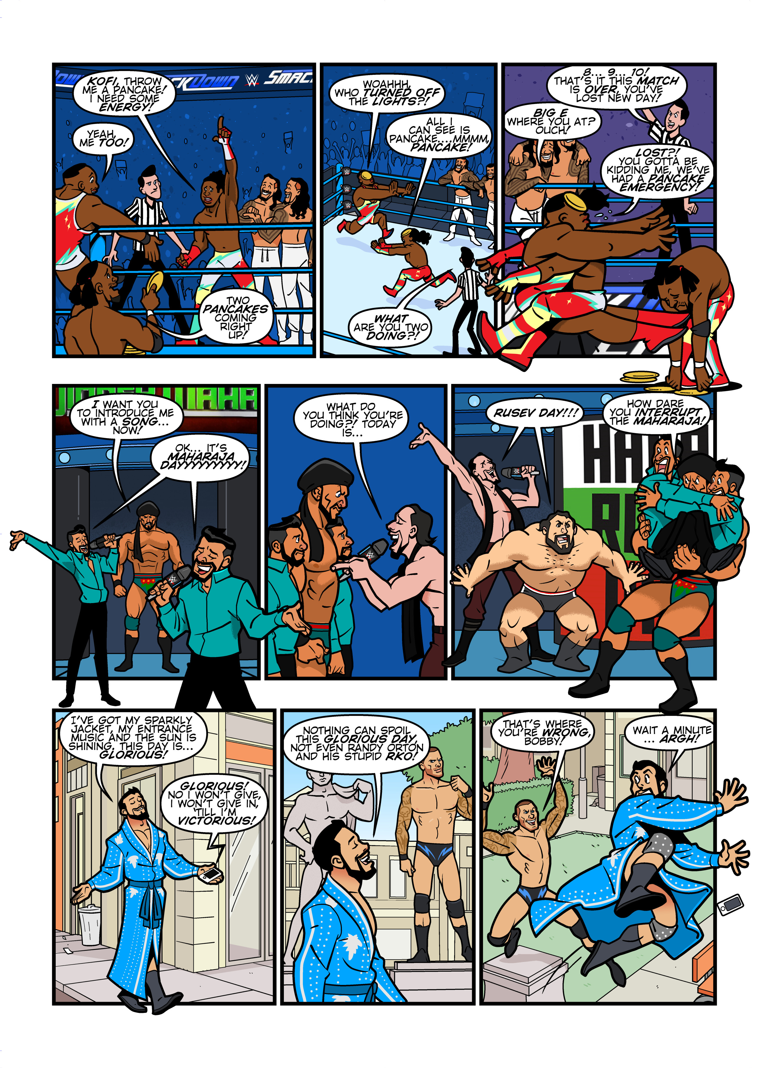 WWE Smackdown Live comic strips for WWE Kids Magazine #134