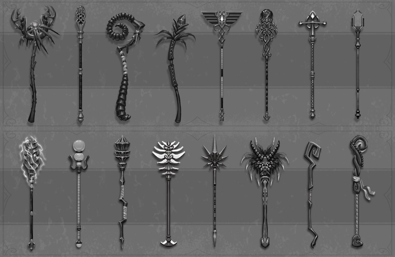 Greyscale staffs