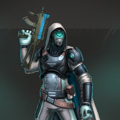 Travis lacey sci fi character bounty hunter smg soldier concept art travis lacey web