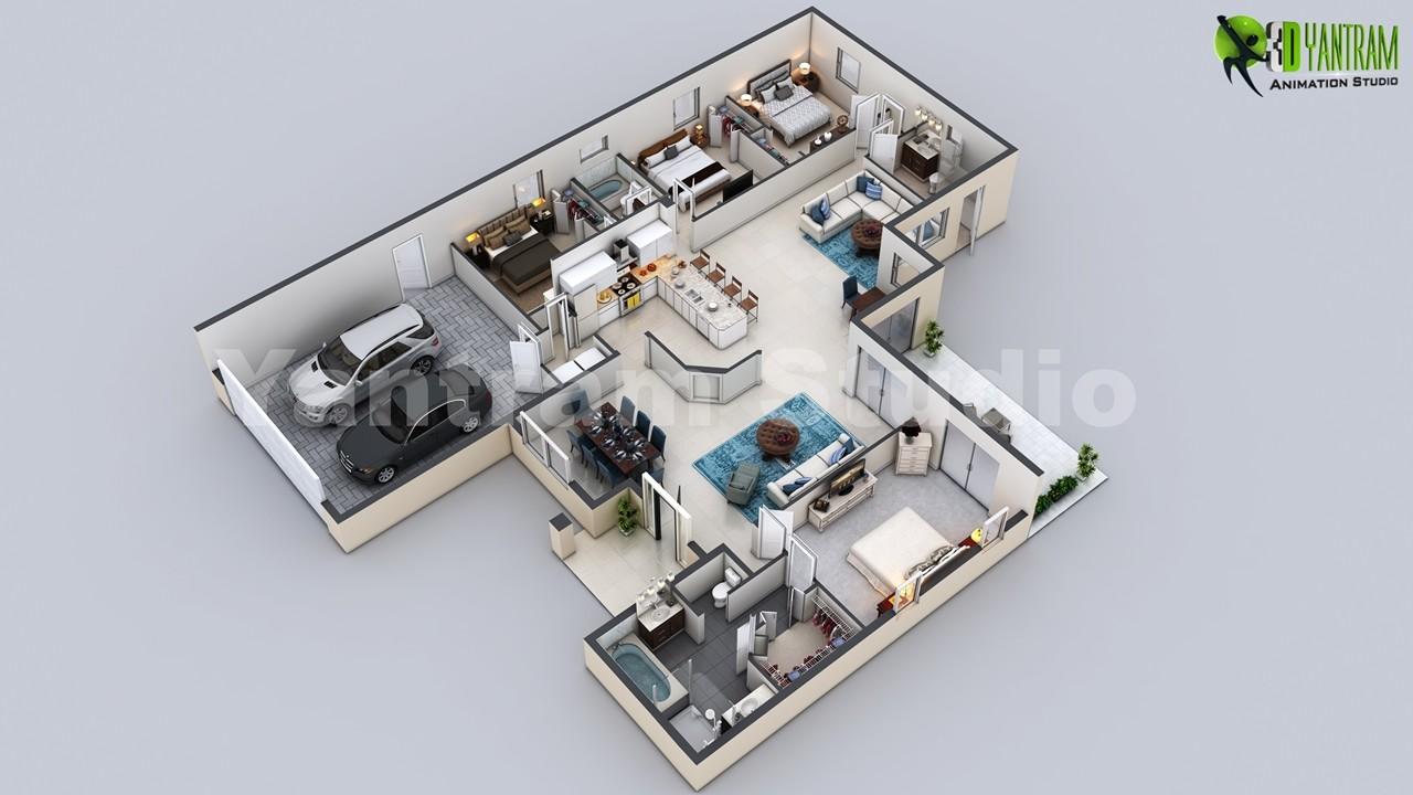 3D Virtual Floor Plan Of Luxurious Villa